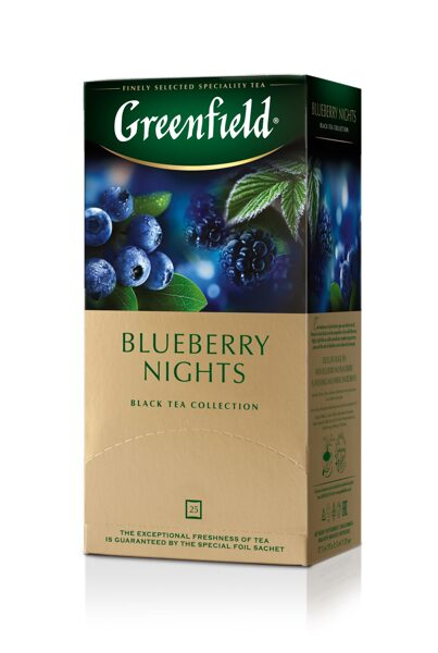 "GREENFIELD ""Blueberry Nights"" melnā tēja 25x1,5g"