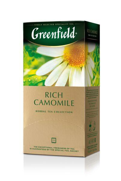 """GREENFIELD """"Rich Camomile"""" zāļu teja 25x1.5g"""