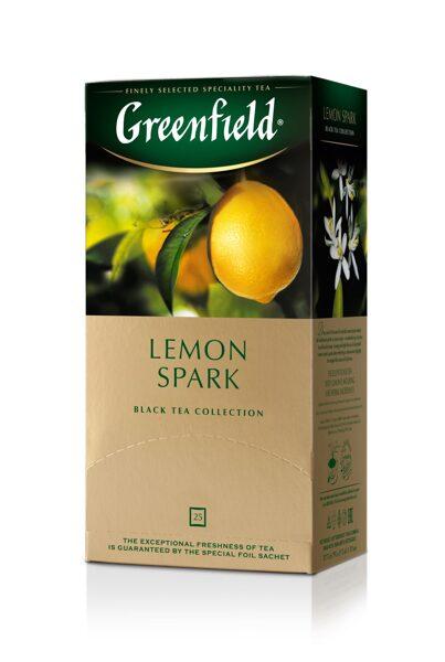 """GREENFIELD """"Lemon Spark"""" melnā tēja 25x1.5g"""